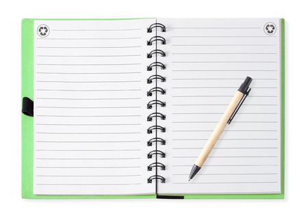 Note book with paper pen, isolated on white photo