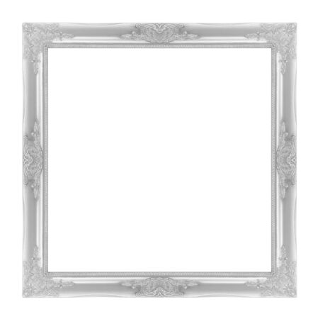 filagree: The antique  frame on the white background, silver color