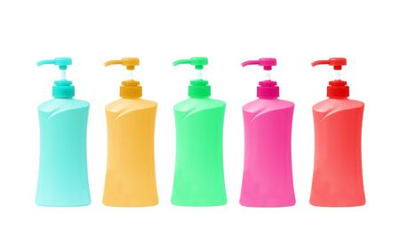 duo: Plastic Bottle pump Of Gel, Liquid Soap, Lotion, Cream, Shampoo on white background