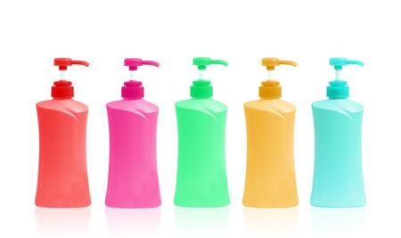Plastic Bottle pump Of Gel, Liquid Soap, Lotion, Cream, Shampoo on white background photo