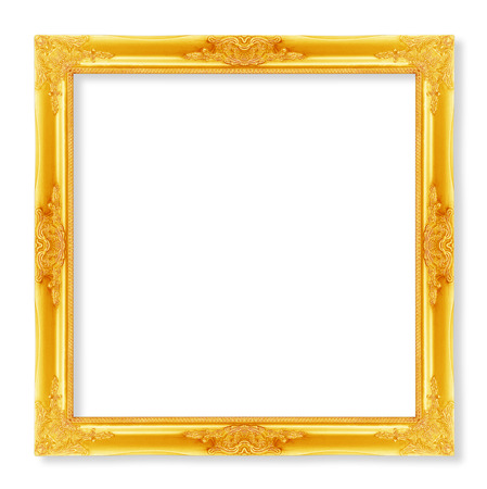 filagree: The antique gold frame on the white background
