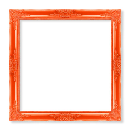 filagree: The antique  frame on the white background, red color