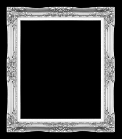 silver antique picture frames. Isolated on black background photo