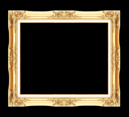 gold antique picture frames. Isolated on black background Imagens
