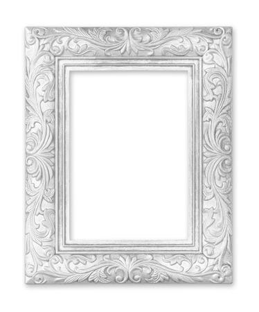 objetos cuadrados: Marco de plata. Aislado en el fondo blanco
