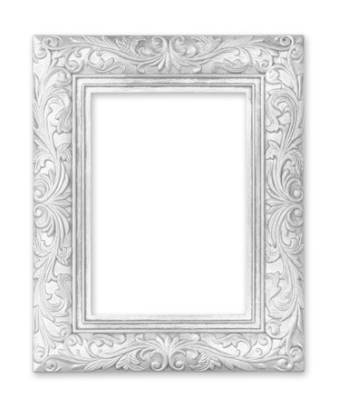 baroque picture frame: silver picture frame. Isolated on white background