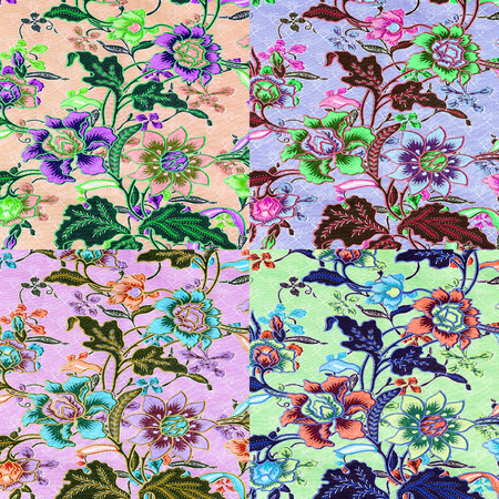 tapestry: vintage style of tapestry flowers fabric pattern background, differant Stock Photo