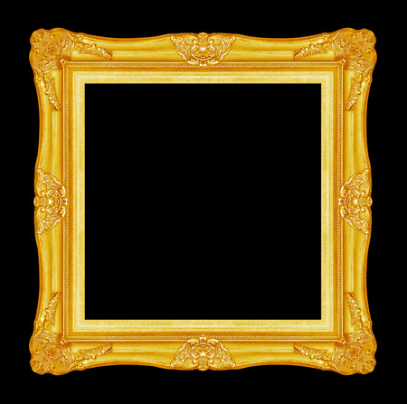 antique golden picture frame isolated on black background Archivio Fotografico