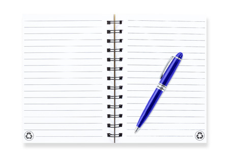 Note book with  pen, isolated on white photo