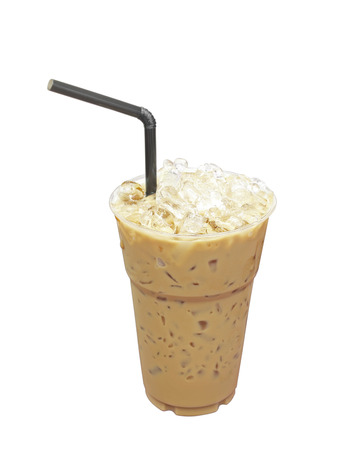 Iced coffee with straw in plastic cup isolated on white background photo