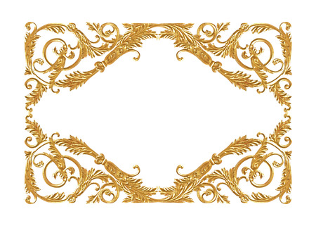 Pattern of flower carved frame on white background Archivio Fotografico