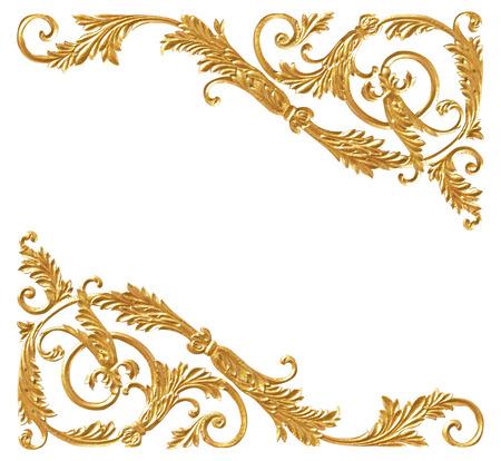 Elementi di ornamento, disegni floreali d'oro d'epoca Archivio Fotografico