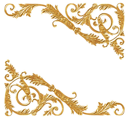 baroque border: Ornament elements, vintage gold floral designs