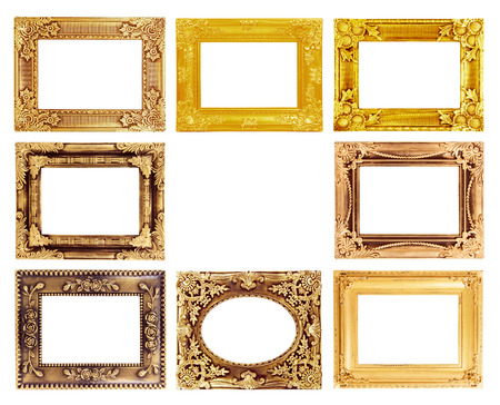 The antique gold frame on the white background photo