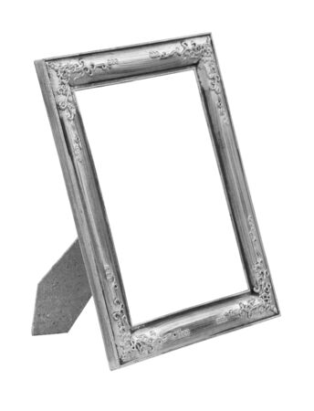 silver picture frame: Picture silver frame isolated on white background Stock Photo