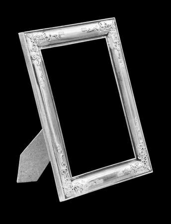 silver picture frame: Picture silver frame isolated on black background
