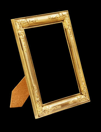 Picture gold frame isolated on black background photo