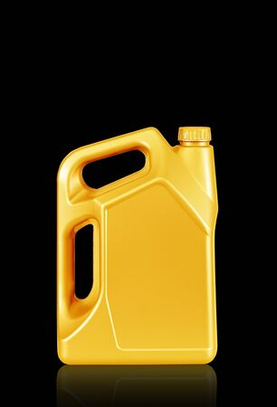 Engine oil canister  isolated on black background. gold color photo