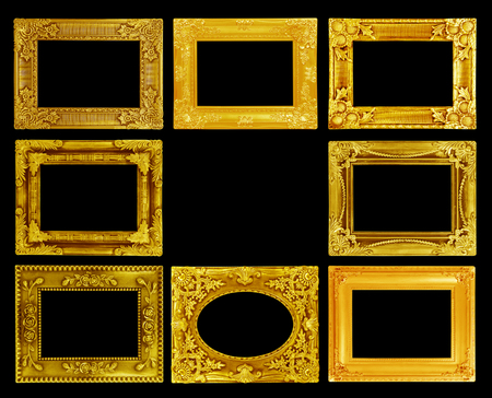 The antique gold frame on the black background photo