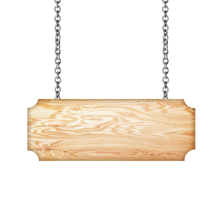 Wooden sign hanging on a chain isolated on white  background photo