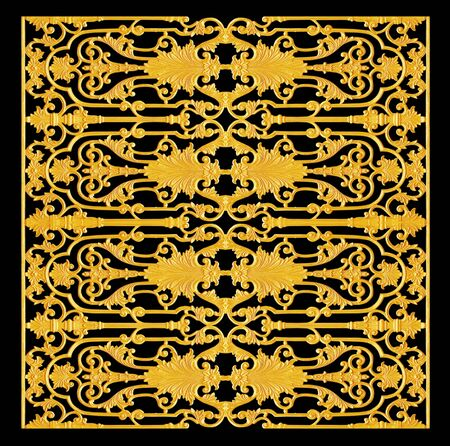 Ornament elements, vintage gold floral designs photo