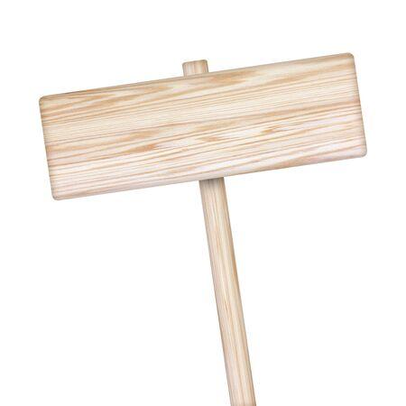 unbalanced: Wooden sign isolated on white background