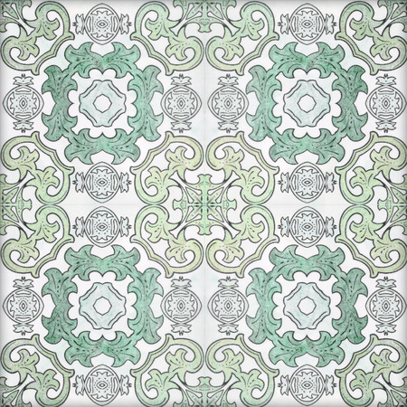azulejos: Old ceramic tiles patterns handicraft from thailand In the park public. Stock Photo