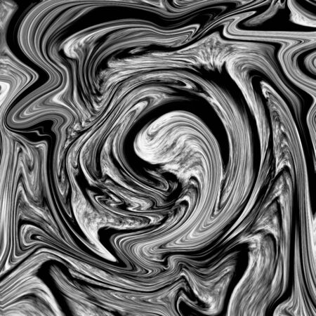painterly effect: Abstract marble texture. Black and white background. Handmade technique. Stock Photo