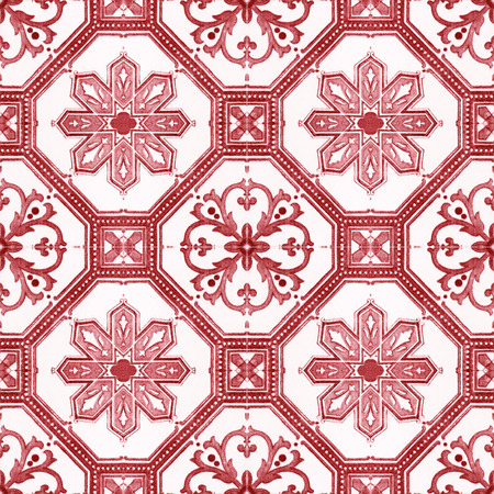 handicraft: Old ceramic tiles patterns handicraft from thailand In the park public. Stock Photo