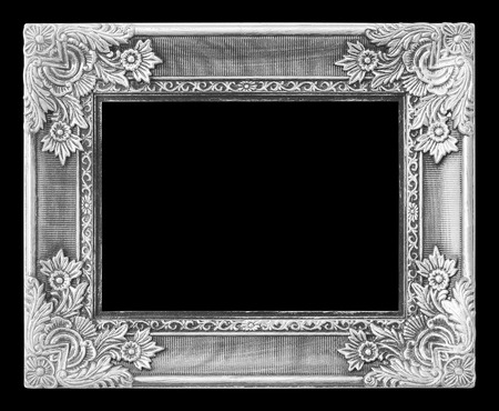 Old antique silver frame on the black background Stock Photo