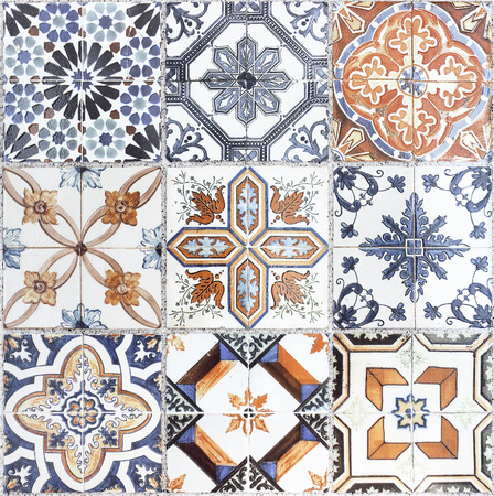 Beautiful old wall ceramic tiles patterns Banco de Imagens