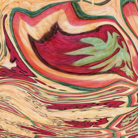 Creative background with abstract acrylic painted waves. Beautiful marble texture. red handmade surface. Liquid paint. Horizontal wallpaper.