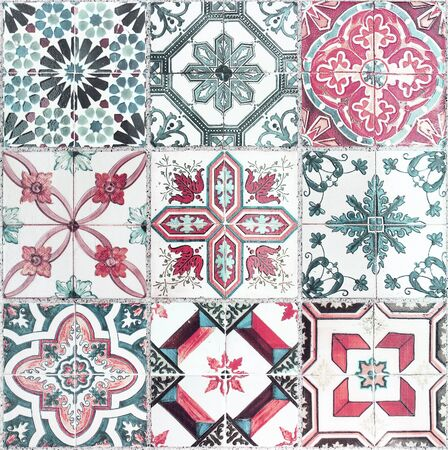 tile pattern: Beautiful old wall ceramic tiles patterns handcraft from thailand public. Stock Photo