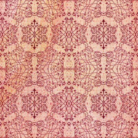 Old decorative sandstone tile background patterns handicraft from thailand In the park public.