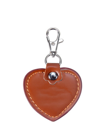 keychain: Leather Round Keychain with clip lock for Key Isolated on White Background