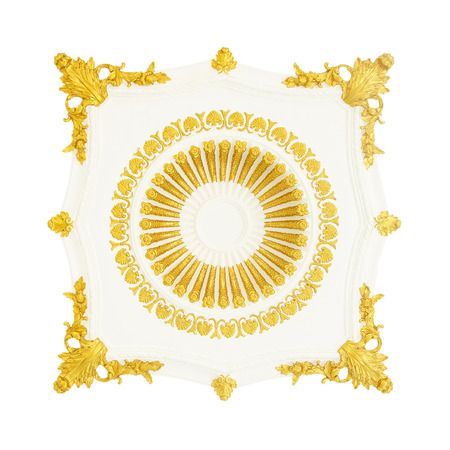 stucco: old antique gold frame Stucco walls greek culture roman vintage style pattern line design for border isolated on white background