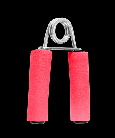 black grip: Sport hand grip strength equipment isolated on black  background Stock Photo
