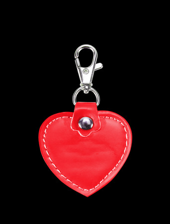 keychain: Leather Round Keychain with clip lock for Key Isolated on black background