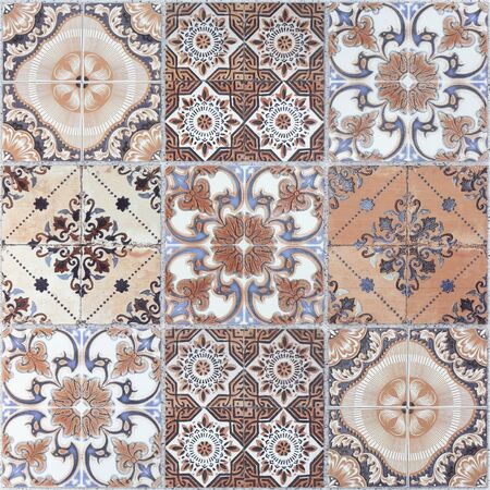 handcraft: Beautiful old wall ceramic tiles patterns handcraft from thailand public. Stock Photo