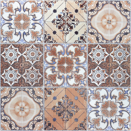 Beautiful old wall ceramic tiles patterns handcraft from thailand public. Stock Photo
