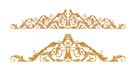 flower designs: Ornament of gold plated vintage floral ,victorian Style Stock Photo