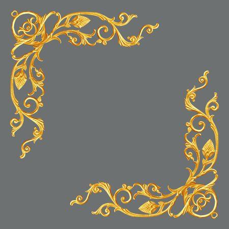 Elementi Ornamento, cornice oro d'epoca floreali
