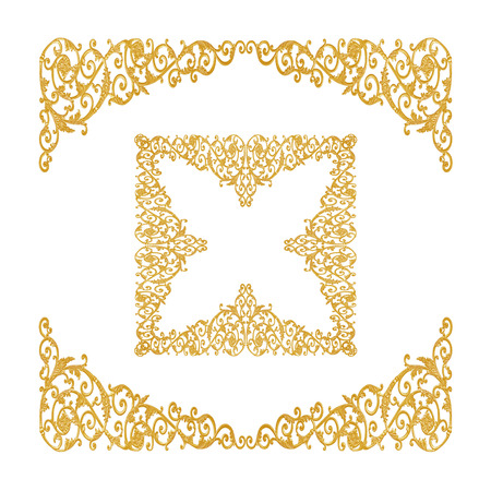conner: old antique gold frame Stucco walls greek culture roman vintage style pattern line design for border isolated