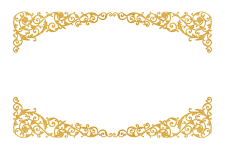 old antique gold frame Stucco walls greek culture roman vintage style pattern line design for border isolated