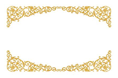 oude antieke gouden frame Stucwerk wanden Griekse cultuur Romeinse vintage stijl patroon lijn ontwerp voor de rand geïsoleerde Stockfoto
