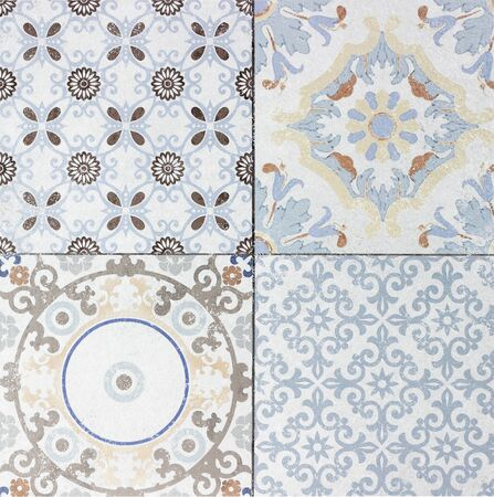wall decor: Beautiful old ceramic tile wall patterns in the park public.