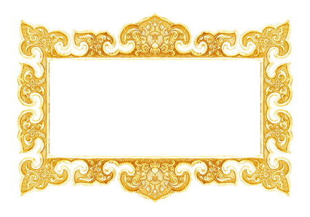 yellow tacks: old decorative frame - handmade, engraved - isolated on white background Stock Photo