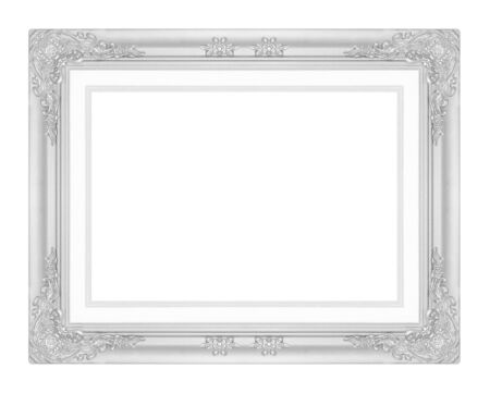 background picture: silver picture frame isolated on white background.