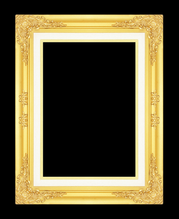 gold picture frame: gold picture frame isolated on black background.