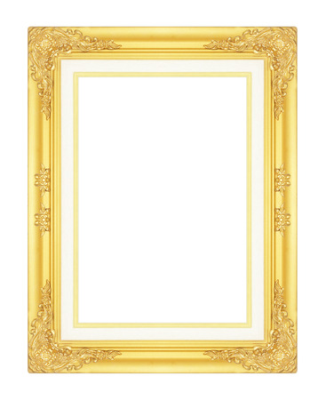 gold picture frame: gold picture frame isolated on white background. Stock Photo